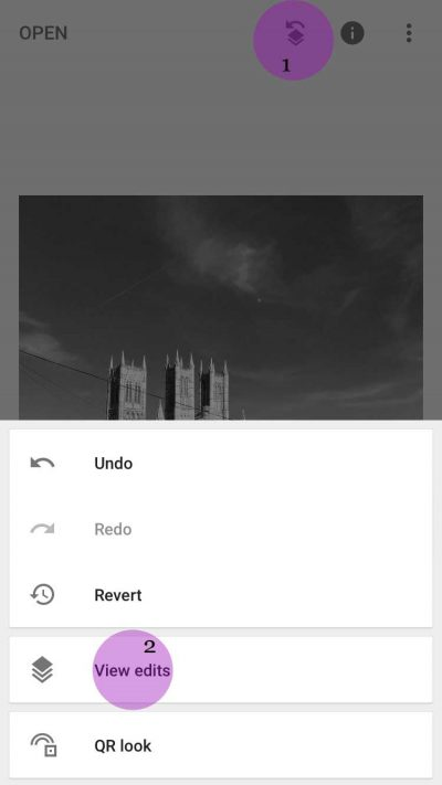 Snapseed - Layers Icon and View Edits